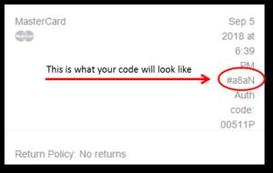 Receipt Code